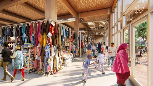 People walking around in the Wadajir Market